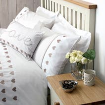 Taupe Gingham Hearts Housewife Pillowcase