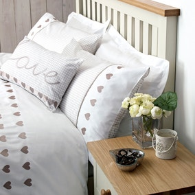 Gingham Hearts Taupe Housewife Pillowcase