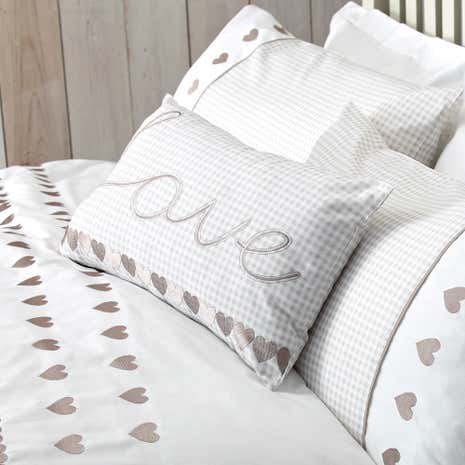 Gingham Hearts Boudoir Cushion