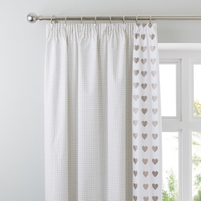 Gingham Hearts Taupe Thermal Pencil Pleat Curtains