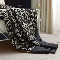 Black Baroque Flock Bedspread