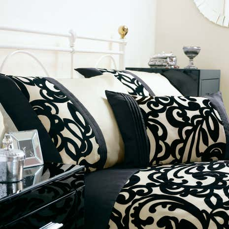 Black Baroque Flock Boudoir Cushion
