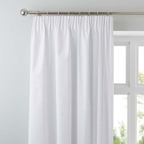 Evangeline White Thermal Pencil Pleat Curtains