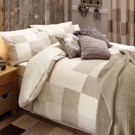Natural Knitted Patchwork Duvet Cover Set