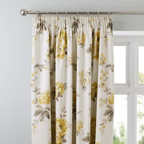 Windermere Lemon Thermal Pencil Pleat Curtains