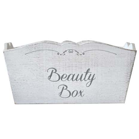 White Wash Wooden Beauty Box