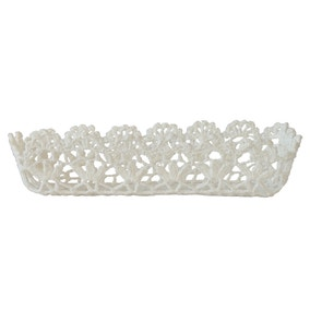 White Cotton Crochet Storage Tray