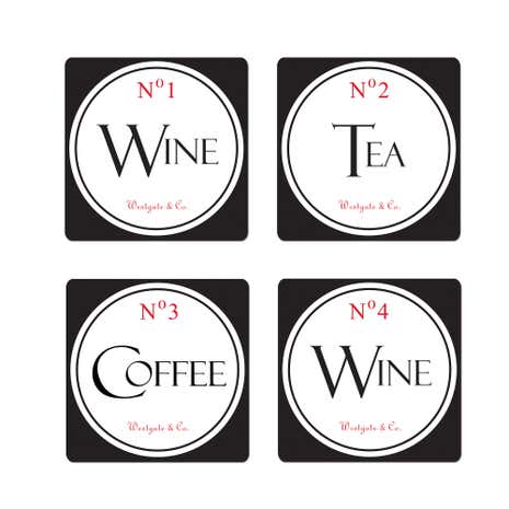 Vintage Tea Sign Set of 4 Coasters