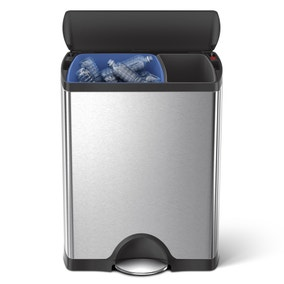simplehuman 30/16 Litre Recycler Rectangular Brushed Steel Pedal Bin