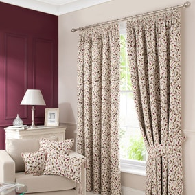 Heritage Glava Damson Lined Pencil Pleat Curtains