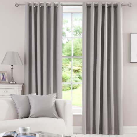 Grey Herringbone Blackout Eyelet Curtains