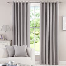 Grey Herringbone Blackout Eyelet Curtains