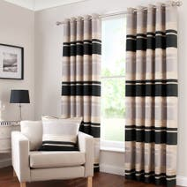 Portobello Black Lined Eyelet Curtains