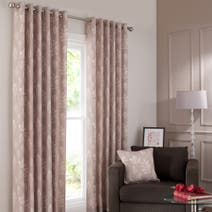 Woodlands Champagne Lined Eyelet Curtains