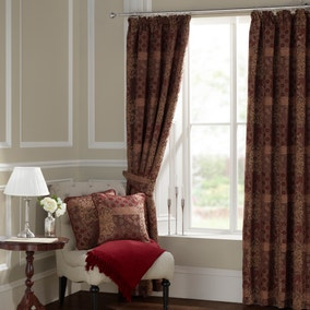 Mayfair Claret Lined Pencil Pleat Curtains