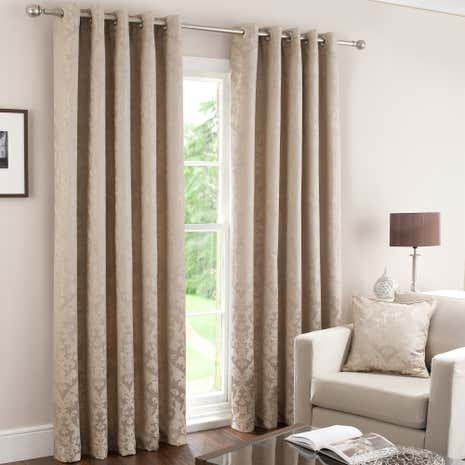 Latte Warwick InterLined Eyelet Curtains