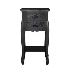 Toulouse Black 2 Drawer Bedside Table