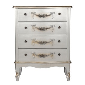 Toulouse Silver Wide 4 Drawer Chest