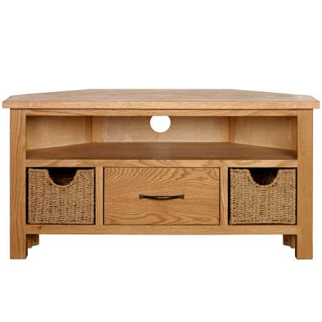 Superb Sidmouth Oak Corner TV Stand. Loz_20_percent_off_ws15;  Loz_exclusive_to_dunelm