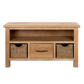 Sidmouth Oak TV Stand With Baskets