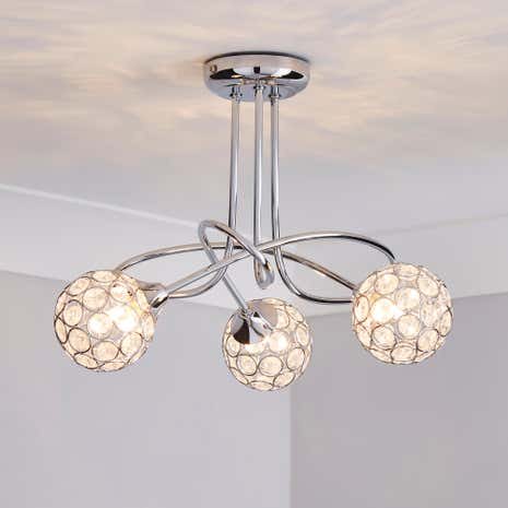Sphere 3-Light Chrome Ceiling Fitting