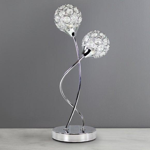 Sphere 2-Light Chrome Table Lamp | Dunelm