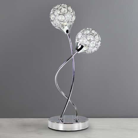 Marvelous Sphere 2 Light Chrome Table Lamp