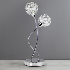 Sphere 2-Light Chrome Table Lamp