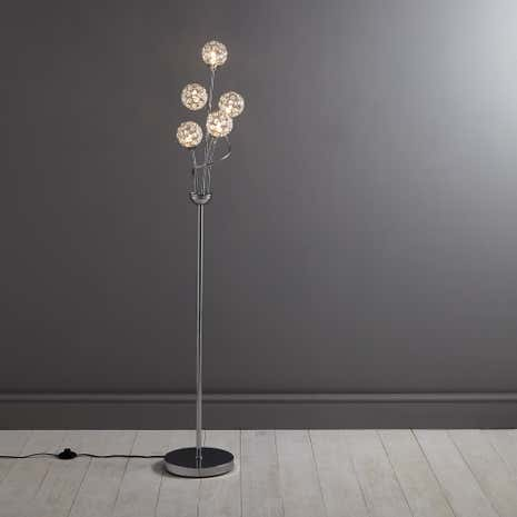 Sphere 5 light chrome floor lamp