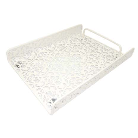 Cream Floral Document Tray