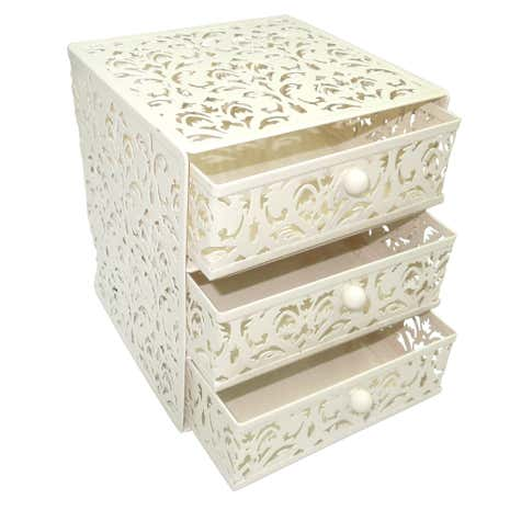 Cream Floral 3 Tier Drawer Unit