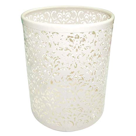 Cream Flower Waste Bin