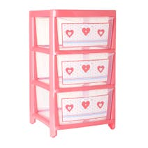 Kids Pink Cute As Button 3 Drawer Tower