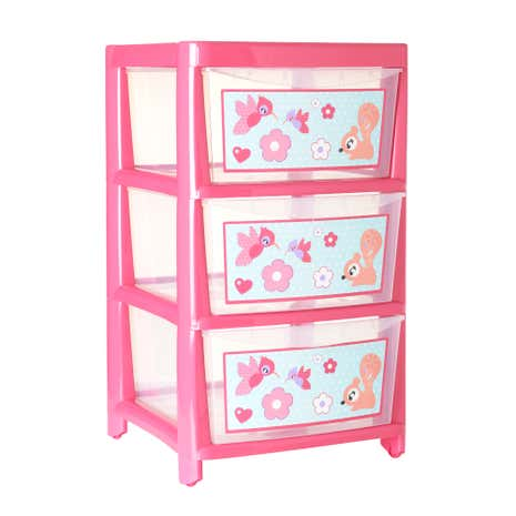 Kids Pink Nature Watch 3 Drawer Tower