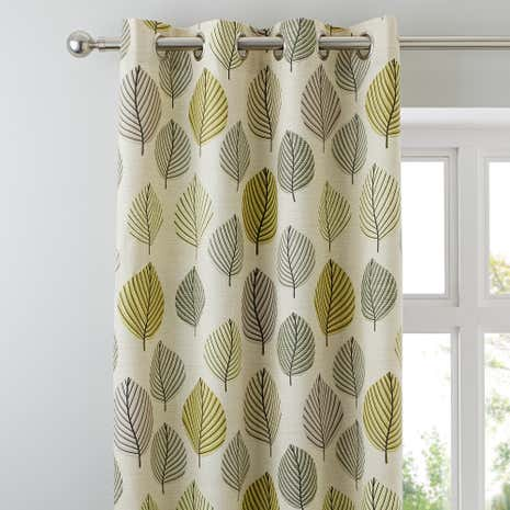 Green Regan Lined Eyelet Curtains