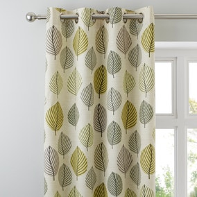Regan Green Lined Eyelet Curtains