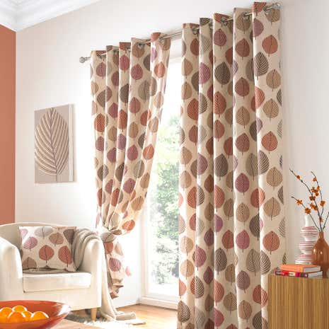 Terracotta Regan Lined Eyelet Curtains