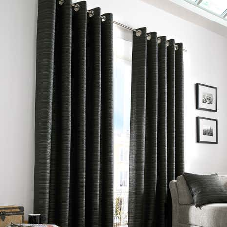 Urban Black Lined Eyelet Curtains