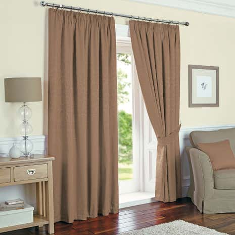 Mocha Toledo Thermal Pencil Pleat Curtains