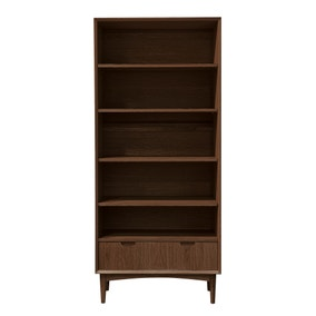 Skandi Walnut Wide Bookcase