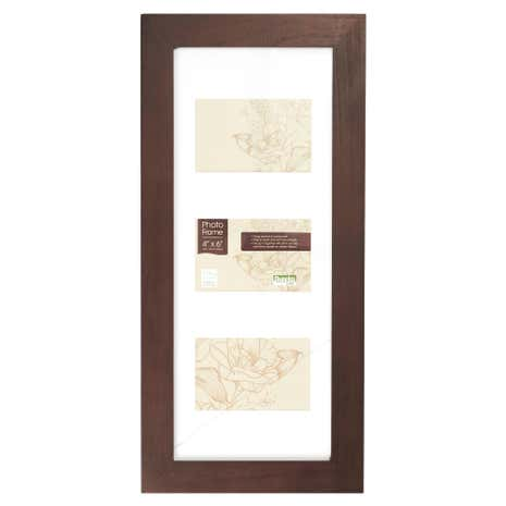 Chocolate 3 Aperture Wood Photo Frame