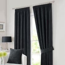 Black Chenille Lined Pencil Pleat Curtains