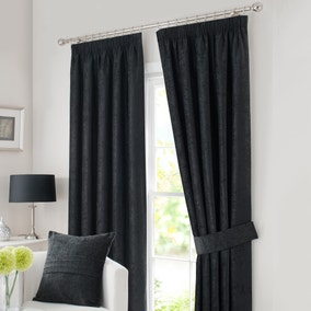 Chenille Black Lined Pencil Pleat Curtains