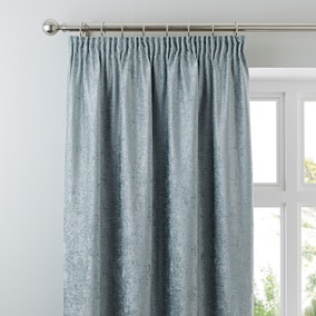 Chenille Duck-Egg Lined Pencil Pleat Curtains