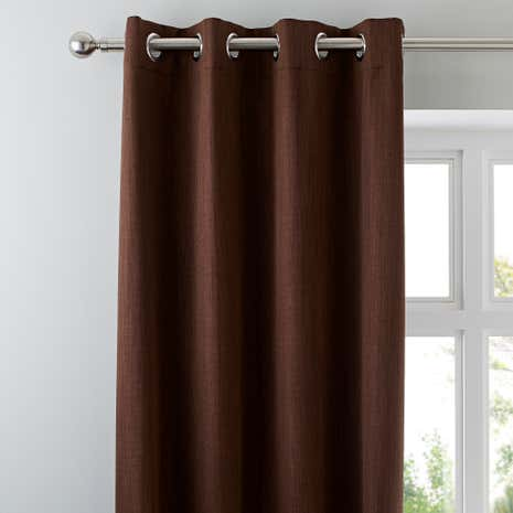 Solar Chocolate Blackout Eyelet Curtains
