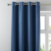 Solar Blue Blackout Eyelet Curtains