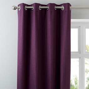 Solar Aubergine Blackout Eyelet Curtains