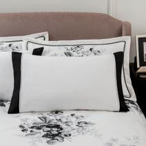 Dorma Black and White Gardenia Cuffed Pillowcase