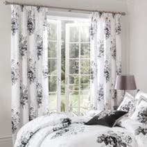 Dorma Black and White Gardenia Lined Pencil Pleat Curtains