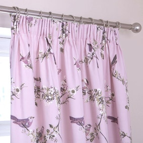 Beautiful Birds Heather Thermal Pencil Pleat Curtains